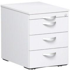 Rollcontainer mit 3 Metall-Schubfächern und Utensilienschubfach, Metall-Rollschubführung, Zentralverriegelung, verdeckte Doppel-Lenkrollen, 438x600x565, Weiß/Weiß