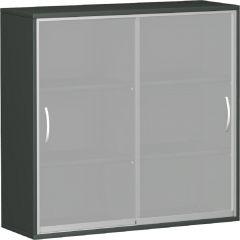 Schiebetürenschrank mit satinierten Glas-Schiebetüren, mit Mittelseite, 4 Dekor-Einlegeböden, nicht abschließbar, 1200x425x1152, Graphit