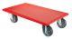 A.-Roller 350x600 mm, mit rotem Belag, Lenkrollen mit thermopl. Gummirad, Tragkraft 330 kg