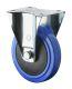 Bockrolle, Elastikrad blau, Kunststofffelge, Kugellager, Fadenschutz
