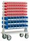 Mobiles Magazin bestückt mit 142 x Sichtlagerkästen FA auf 18 Schienen