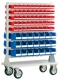 Mobiles Magazin bestückt mit 142 x Sichtlagerkästen SB auf 18 Schienen