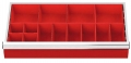 Kleinteilekästen 14-teilig für R 24-12, für Schubladennutzmaß innen 600 x 300 mm und Blendenhöhe 50 mm