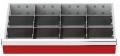 Metalleinteilung 11-teilig für R 24-12, für Schubladennutzmaß innen 600 x 300 mm und Blendenhöhe 200 mm