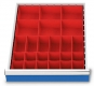 Kleinteilekästen 24-teilig für R 18-24 für Schubladennutzmaß innen 450 x 600 mm und Blendenhöhe 100 mm