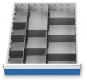 Metalleinteilung 10-teilig für R 18-24 für Schubladennutzmaß innen 450 x 600 mm und Blendenhöhe 75 mm