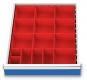 Kleinteilekästen 15-teilig für R 18-24 für Schubladennutzmaß innen 450 x 600 mm und Blendenhöhe 100 mm