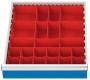 Kleinteilekästen 23-teilig für Schubladennutzmaß innen 450 x 525 mm und Blendenhöhe 100 mm