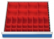 Kleinteilekästen 24-teilig für R 24-24 für Schubladennutzmaß innen 600 x 600 mm und Blendenhöhe 100 mm