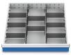 Metalleinteilung 10-teilig für R 24-24 für Schubladennutzmaß innen 600 x 600 mm und Blendenhöhe 75 mm