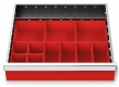 Kleinteilekästen 12-teilig für R 18-16 für Schubladennutzmaß innen 450 x 400 mm und Blendenhöhe 100 mm