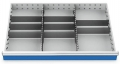 Metalleinteilung 10-teilig für R 36-24 für Schubladennutzmaß innen 900 x 600 mm und Blendenhöhen 150/175 mm