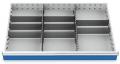 Metalleinteilung 10-teilig für R 36-24 für Schubladennutzmaß innen 900 x 600 mm und Blendenhöhe 75 mm