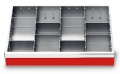 Metalleinteilung 11-teilig für R 24-16 für Schubladennutzmaß innen 600 x 400 mm und Blendenhöhe 100 mm