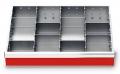 Metalleinteilung 11-teilig für R 24-16 für Schubladennutzmaß innen 600 x 400 mm und Blendenhöhe 75 mm