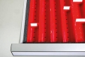 Distanzleisten für Kleinteilekästen für Schubladennutzmaß innen 600 x 600 mm und Blendenhöhe 100 mm